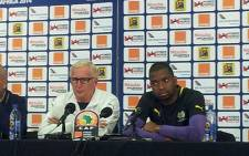 Bafana Bafana coach Gordon Igesund and Captain Itumeleng Khune address the media ahead of their match against Mozambique on 10 January 2014. Picture: Alicia Pillay/EWNSport