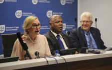 Western Cape Premier Helen Zille MEC for Community Safety, Dan Plato and MEC for Economic Opportunities, Alan Winde hosted a joint press conference on 10 October 2018 to address various concerns about crime in the province. Picture: Cindy Archillies/EWN