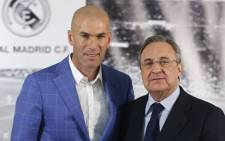 Real Madrid's new coach Zinedine Zidane and Real Madrid's President Florentino Perez. Picture: Real Madrid official Facebook page.