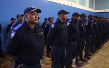 100 new Law Enforcement Officers took to the streets of Bonteheuwel as the City of Cape Town launched its second Neighbourhood Safety Team. Picture: Bertram Malgas
