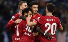Liverpool players celebrate a goal in their 5-1 victory over Porto in the UEFA Champions League on 28 September 2021. Picture: @LFC/Twitter