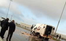Officials on scene where a cash-in-transit heist took place on Jakes Gerwel Drive in Cape Town, on 18 June 2018. Picture: Supplied
