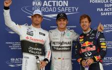 Mercedes driver Nico Rosberg (C) starts on pole at Silverstone on Sunday, ahead of Red Bull's Sebastian Vettel (R) and McLaren's Jenson Button (L). Picture: Facebook.