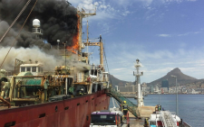 FILE: The trawler which caught alight in Cape Town harbour on 2 November 2016. Picture: EWN.