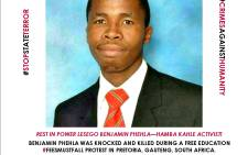 A screengrab of TUT student leader Benjamin Phehla, who died after being struck by a car during a Fees Must Fall protest.