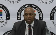 A screengrab of former VR Laser shareholder Benny Jiyane giving testimony at the state capture inquiry on 19 March 2019.
