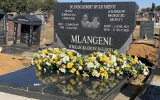 The shared memorial stone of late struggle stalwarts, husband and wife, June and Andrew Mlangeni. The ANC in Gauteng lay a wreath at the grave of Mlangeni on what would have been his 96th birthday, on 06 June 2021. Picture: Twitter/@MyANC