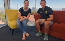 EWN on the couch host Cato Louw and South African hockey player Keenan Horne. Picture: Bertram Malgas/EWN