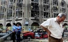 Scene of a car bombing. Picture: AFP.