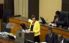 A screengrab of Gauteng MEC for Finance Barbara Creecy delivering her medium term budget policy statement. Picture: Twitter/@GautengProvince.