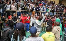 CPUT Bellville Fees2017 protesters sing before the general assembly with the Vice Chancellor. Picture: Anthony Molyneaux/EWN.