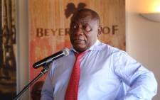 President Cyril Ramaphosa addresses farmers at the Beyerskloof wine farm in Stellenbosch on 9 April 2019. Picture: Bertram Malgas/EWN
