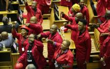 FILE: Members of the opposition Economic Freedom Fighters (EFF) in Parliament in Cape Town on 13 February 2020. Picture: AFP.