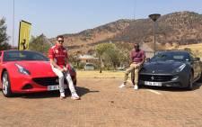 Alex Caige and Jacob Moshokoa share the Ferrari lifestyle experience in the California T and FF. Picture:Kgothatso Mogale/EWN