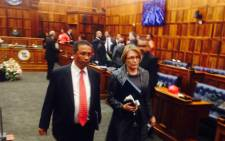 Western Cape Premier, Helen Zille exiting the Western Cape Legislature after her State of the Province Address on 20 February 2015. Picture: Shamiela Fisher/EWN