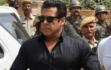 Indian Bollywood actor Salman Khan arrives at a court to hear the verdict in the long-running wildlife poaching case against him in Jodhpur on 5 April 2018. Picture: AFP.