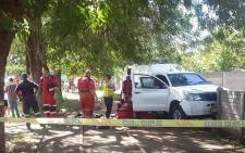 Paramedics pictured on scene after a security guard was shot and killed in Vaal during an apparent cash heist on 28 November 2016. Picture: @ER24EMS