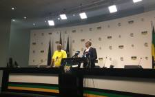 ANC Secretary General Gwede Mantashe (L) and national spokesperson Zizi Kodwa at Luthuli House on 4 December 2017. Picture: Masa Kekana/EWN.