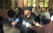 Chairperson of the local business association addressing the media following a meeting with KZN Premier Willies Mchunu. Picture: Clement Manyathela/EWN