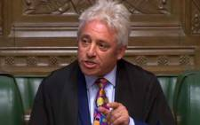 FILE: A video grab from footage broadcast by the UK Parliament's Parliamentary Recording Unit (PRU) shows Speaker of the House of Commons John Bercow announcing to MP's that he would step down from his role on 9 September 2019 in London. Picture: AFP.