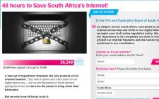 Screengrab of the Avaaz petition