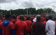 Nehawu workers protest outside Unisa's Sunnyside campus on Thursday 26 Jan 2017. Picture: Mia Lindeque/EWN.
