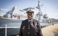 Lieutenant Commander Zimasa Mabela made history today as Africa's first black female captain of a combat class vessel in the SA Navy. picture: Thomas Holder/EWN