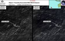 Satellite images of objects in the Indian Ocean which may be from missing Malaysia Airlines flight MH370 which disappeared en route to Beijing early on 8 March. Picture: AFP.