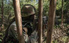 An SANDF rifleman aims to fire during a live-fire exercise during preparation training for deployment to the Democratic Republic of Congo. Picture: Thomas Holder/EWN