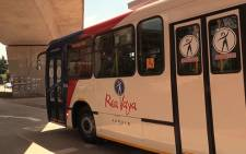 A Rea Vaya bus leaves the Milpark station after the new bus phase was launched in Johannesburg on 14 October 2013. Picture: Reinart Toerien