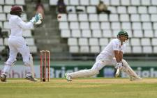 Pakistan batsman Younis Khan edges a ball past West Indies wicketkeeper Shane Dowrich as he bats for the last time before retirement on the fourth days play of the final test match at the Windsor Park Stadium in Roseau. Picture: AFP.