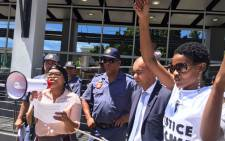 The provincial director of public prosecutions Rodney de Kock receives a memorandum from SJC members, who called for the resignation of NPA head Shaun Abrahams during a march on 1 November 2016. Picture: Monique Mortlock/EWN.