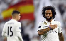 Real Madrid's Brazilian defender Marcelo celebrates scoring his team's second goal during the Uefa Champions League group G football match between Real Madrid CF and FC Viktoria Plzen at the Santiago Bernabeu stadium in Madrid on 23 October 2018. Picture: AFP.