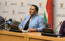 Agriculture and Land Reform Minister Thoko Didiza briefing the media on 16 July 2019 ahead of tabling her department's budget. Picture: @SAgovnews/Twitter.