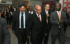 FILE: Former President Jacob Zuma (centre) seen with Atul Gupta (left) and Home Affairs Minister Malusi Gigaba (right). Picture: GCIS
