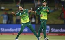 Proteas leg spinner Imran Tahir celebrates taking a hat-trick against Zimbabwe during their ODI match on 3 October 2018. Picture: @OfficialCSA/Twitter