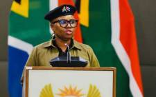 Social Development Minister Lindiwe Zulu at a media briefing on 24 March 2020 by Ministers in the Social Cluster following the announcement of a national lockdown to contain COVID-19 in South Africa. Picture: @GovernmentZA/Twitter.