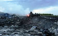 A picture taken on 17 July 2014 shows the wreckage of Malaysia Airline flight MH17 which was shot down over Ukraine. Picture: AFP