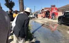 Water and Sanitation Minister Senzo Mchunu visited Site C in Khayelitsha on 29 September 2021, following up on complaints from residents regarding running sewage in the community's streets. Picture: Kevin Brandt/Eyewitness News