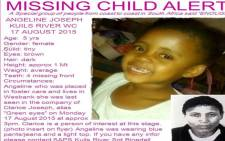 FILE: Five-year-old Angeline Joseph went missing two days ago. Picture: Facebook