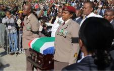 Winnie Madikizela-Mandela's coffin is carried into Orlando Stadium. Thomas Holder/EWN