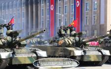 North Korea staged a military parade on Sunday. Picture: Twitter @NKNews.