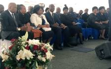 Ministers Angie Motshekga, Joe Maswanganyi and Parliament Speaker Baleka Mbete in Verena. Picture: Hitekani Magwedze/EWN.