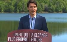 Canadian Prime Minister Justin Trudeau during a press conference on single-use straws being banned by 2021. Image: Twitter
