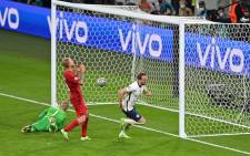 England's Harry Kane celebrates scoring against Denmark in their Euro 2020 semifinal match on 7 July 20221. Picture: @EURO2020/Twitter