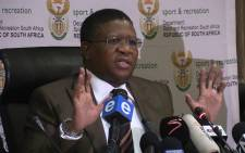 Sports Minister Fikile Mbalula speaks during a press conference at SAFA House in Soweto, Wednesday 3 June 2015. Picture: Vumani Mkhize/EWN.