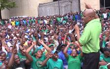 FILE: Amcu President Joseph Mathunjwa addresses striking miners in Johannesburg. Picture: Vumani Mkhize/EWN.