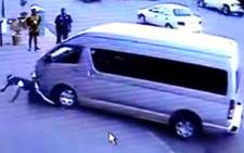 A screen grab of a video showing a man being knocked down by a taxi. Picture: Supplied