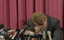 A screengrab shows David Warner who was emotional during a press briefing on his involvement in the Australia ball-tampering scandal, on 30 March 2018.