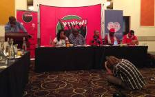 Nehawu leadership addresses the media on a possible strike action on 14 April 2015. Picture: Govan Whittles/EWN